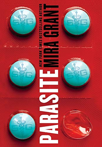 Parasite - teal blue pills in a red bubble pack with the title and author up the middle