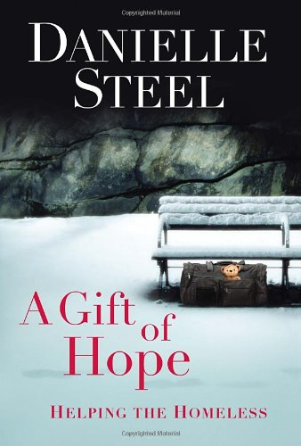 Danielle Steel's memoir The Gift of Hope  - a picture of a park bench in the snow, with a duffle bag tucked beneath it, and a teddy bear peeking out of the pocket of the bag
