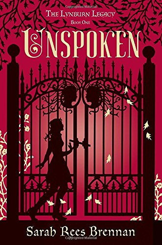 Unspoken: A blackline illustration of a girl infront of a menacing curly wrought iron gate against a red background.