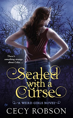 Sealed With a Curse - Cecy Robson - a woman with long hair wearing a red tanktop with slashes in the back facing away from the reader (tight jeans, low cut, no muffin top). Her nails are very very long claws.