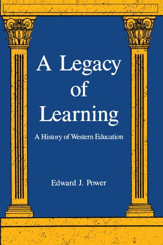 blue background with white text framed by 2 gold architectural pillars, cover of a legacy of learning