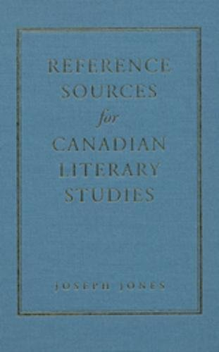 cover artreference sources for canadian literary studies   joseph jones