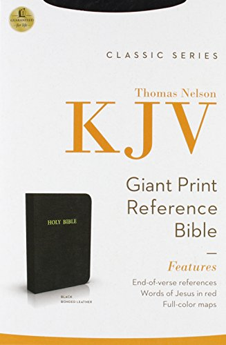 Giant Print (13 point type) Reference Bible, Personal Size Edition: King James Version (KJV), black bonded leather, words of Christ in red, with concordance