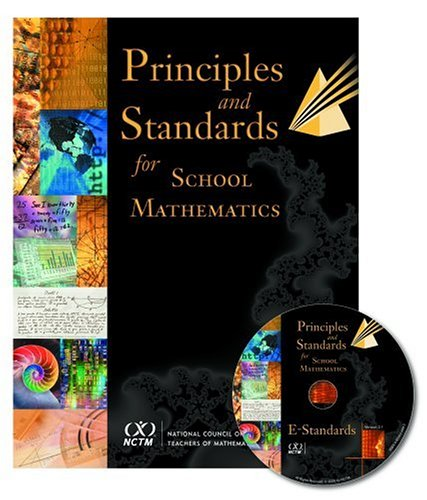 mostly black cover with random stock photographs near spine, cover of principles and standards fro school mathematics