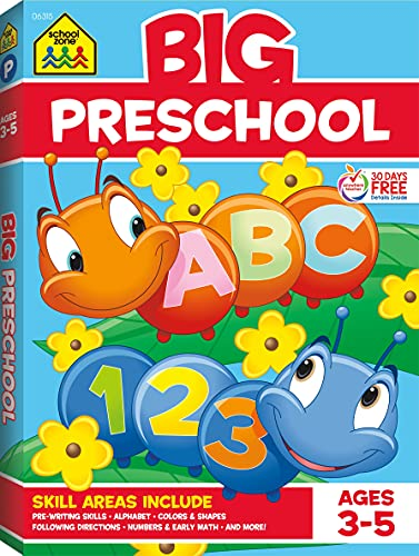 Read Now School Zone - Big Preschool Workbook - Ages 3 - 5, Colors, Shapes, Numbers 1-10, Alphabet, Pre-Writing, Pre-Reading, Phonics, and More (School Zone Big Workbook Series)