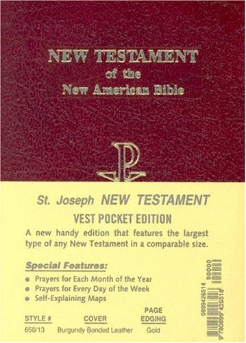 Saint Joseph Vest Pocket New Testament: New American Bible (NAB), red bonded leather, gold-edged
