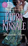 Midsummer Moon by Laura Kinsale - Print cover: a woman in a bluegreen gown being embraced by half-undone-shirt dude in front of a window with a huge full moon outside