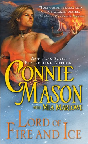 A blonde guy holding a hand filled with fire against a backdrop of a frozen lake and snowcovered mountains. His other hand is resting at his belt, and also has fire in it, which makes no sense that close to the family jewels. And he's shirtless. Because romance novel cover.