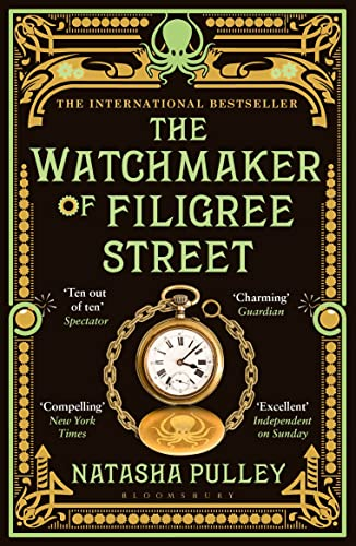 Front cover of 'The Watchmaker of Filigree Street'. It is a black book with steampunk-esque cartoon designs in gold and green, including a pocket watch and an octopus.
