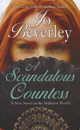 Book A Scandalous Countess - a close up photograph of a red headed woman with her lower face behind a fan