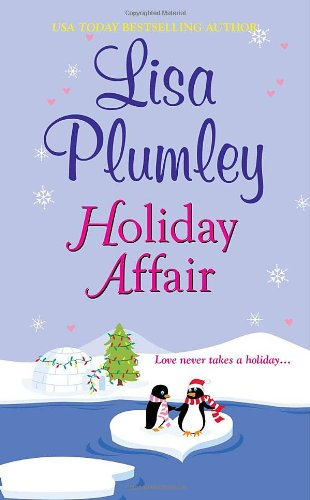 Holiday Affair - Lisa Plumley  - two cartoon penguins on a heart shaped ice floe. 