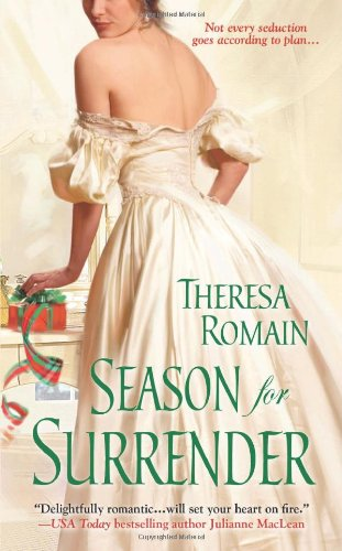Season for Surrender - A woman in an ivory gown with her back to the reader looking over her shoulder