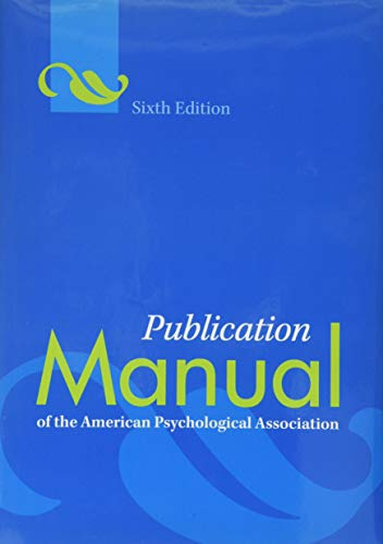 Publication Manual of the American Psychological Association, Sixth Edition cover