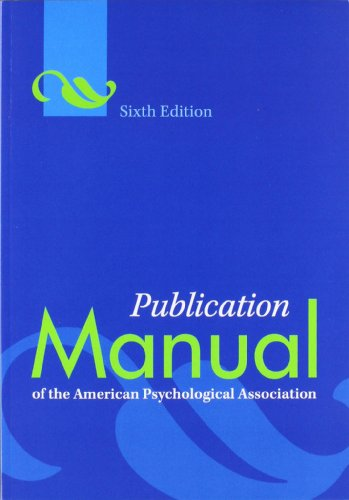 Publication Manual of the American Psychological Association, 6th ed. cover