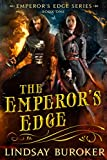 The Emperor's Edge Cover - just the words on a yellow vintage-looking background with some scrollwork