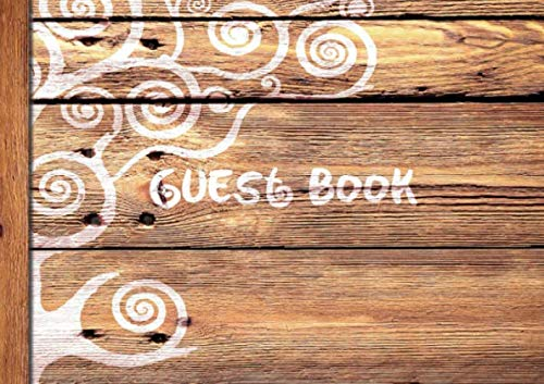 "Guest Book: Visitors Book / Guestbook ( Wooden / Rustic design * Softback * 8.5"" x 6"" ) (Sign in Books for Weddings, Birthday, Funerals & Hospitality) - smART bookx"