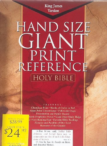 Giant Print (15 point type) Reference Bible: King James Version (KJV), blue bonded leather, words of Christ in red, with concordance