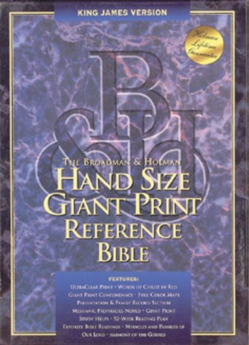 Giant Print (13 Point) Hand Size Reference Bible: King James Version (KJV), burgundy bonded leather, concordance, words of Christ in red