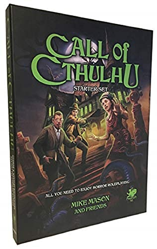 Three investigators face a tentacled monster with a haunted house in the background.