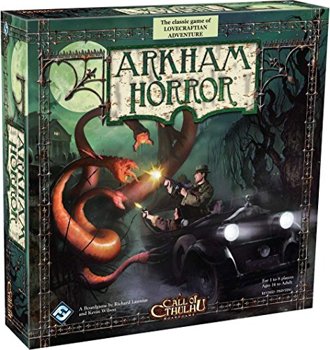 Cover Art shows two investigators shooting a tentacled monster while traveling in a black motor vehicle. Cover text says: The classic game of Lovecraftian adventure. Arkham Horror. A boardgame by Richard Launius and Kevin Wilson. Call of Cthulhu boardgame. For 1 to 8 players Ages 14 to adult. Revised printing