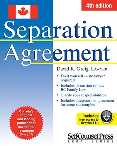 Divorce separation self help for adults research guides at separation agreement by greig david r solutioingenieria Images