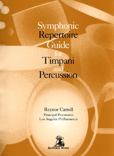 Gold cover of Symphonic Repertoire with percussion instruments in white.