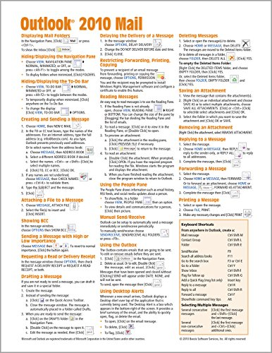 Microsoft Outlook 2010 Mail Quick Reference Guide (Cheat Sheet of Instructions, Tips & Shortcuts - Laminated Card) - Beezix IncBeezix Inc.