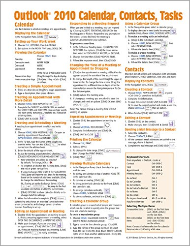 Microsoft Outlook 2010 Calendar, Contacts, Tasks Quick Reference Guide (Cheat Sheet of Instructions, Tips & Shortcuts - Laminated Card) - Beezix IncBeezix Inc.