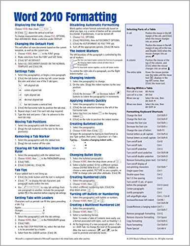 Microsoft Word 2010 Formatting Quick Reference Guide (Cheat Sheet of Instructions, Tips & Shortcuts - Laminated Card) - Beezix Inc.