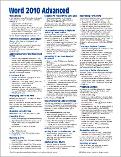 Microsoft Word 2010 Advanced Quick Reference Guide (Cheat Sheet of Instructions, Tips & Shortcuts - Laminated Card) - Beezix Inc.