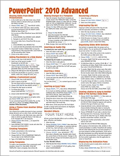 Microsoft PowerPoint 2010 Advanced Quick Reference Guide (Cheat Sheet of Instructions, Tips & Shortcuts - Laminated Card) - Beezix IncBeezix Inc.
