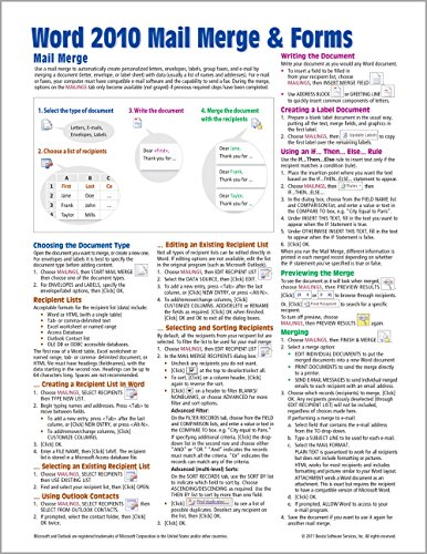 Microsoft Word 2010 Mail Merge & Forms Quick Reference Guide (Cheat Sheet of Instructions, Tips & Shortcuts - Laminated Card) - Beezix Inc.