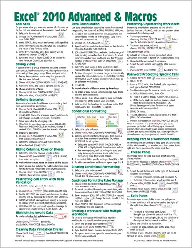 Microsoft Excel 2010 Advanced & Macros Quick Reference Guide (Cheat Sheet of Instructions, Tips & Shortcuts - Laminated Card) - Beezix Inc