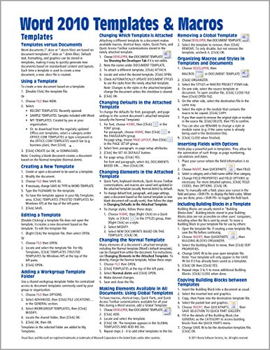 Microsoft Word 2010 Templates & Macros Quick Reference Guide (Cheat Sheet of Instructions, Tips & Shortcuts - Laminated Card) - Beezix Inc