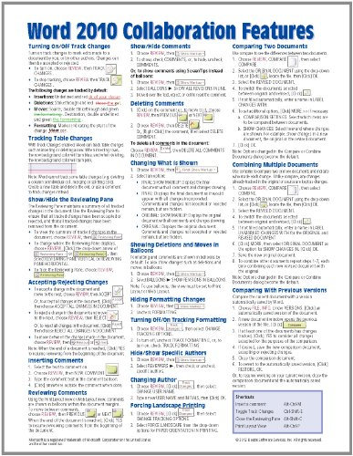 Microsoft Word 2010 Collaboration Features Quick Reference Guide (Cheat Sheet of Instructions, Tips & Shortcuts - Laminated Card) - Beezix Inc.