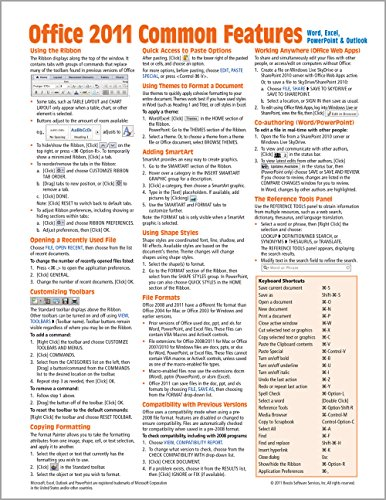 Office 2011 for Mac: Common Features Quick Reference Guide (Cheat Sheet of Instructions, Tips & Shortcuts - Laminated Card) - Beezix