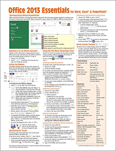Microsoft Office 2013 Essentials Quick Reference Guide (Cheat Sheet of Instructions, Tips & Shortcuts - Laminated Card) - Beezix Inc.Beezix Inc.