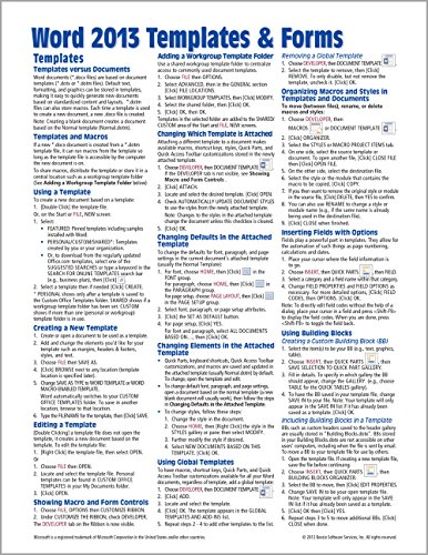 Microsoft Word 2013 Templates & Forms Quick Reference Guide (Cheat Sheet of Instructions, Tips & Shortcuts - Laminated Card) - Beezix Inc.Beezix Inc.
