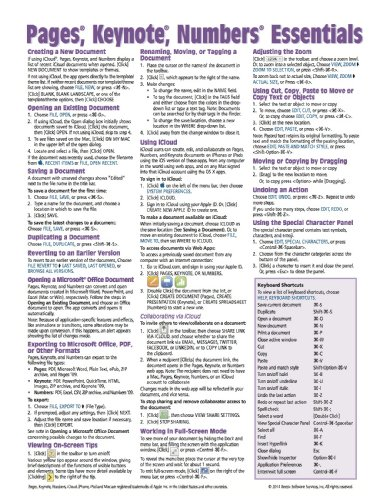 Pages, Keynote, & Numbers Essentials for Mac, versions x.2 Quick Reference Guide (Cheat Sheet of Instructions, Tips & Shortcuts - Laminated Card) - Beezix Inc.Beezix Inc.