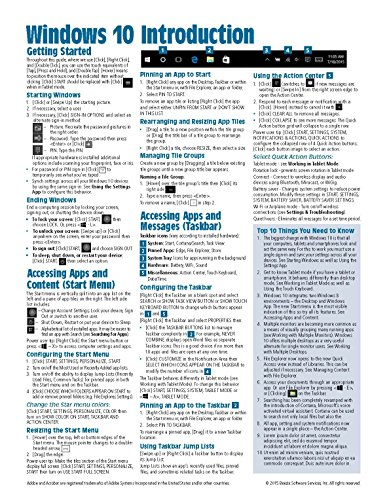 Windows 10 Introduction Quick Reference Guide (Cheat Sheet of Instructions, Tips & Shortcuts - Laminated) - Beezix Inc