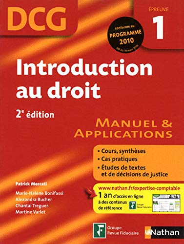 DCG Épreuve 1 : Introduction au droit - Manuel et Applications