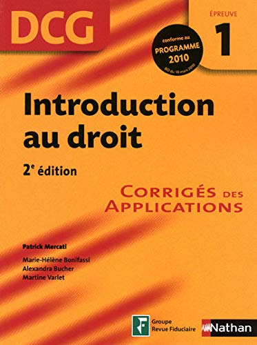 DCG Épreuve 1 : Introduction au droit - Corrigés des applications