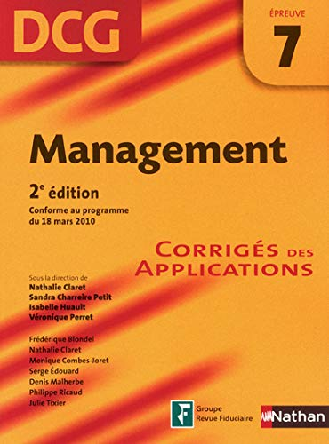 DCG Épreuve 7 : Management - Corrigés des Applications