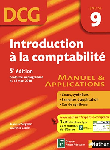Introduction à la comptabilité - DCG épreuve 9 - Manuel et applications