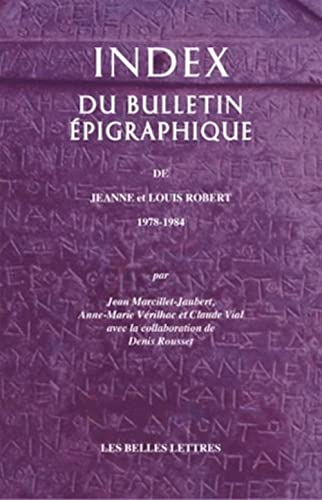Index du bulletin épigraphique de J. et L. Robert 1978-1984