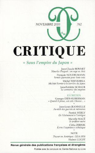 Critique, N° 762, Novembre 201 : Sous l'empire du Japon