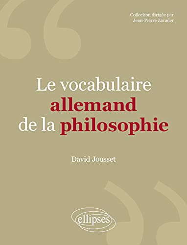 Le vocabulaire allemand de la philosophie