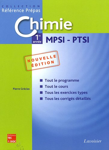 Chimie 1re année MPSI - PTSI