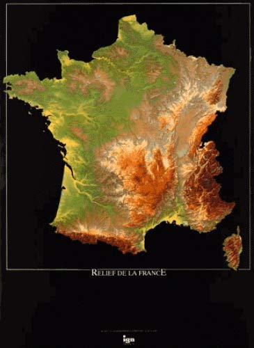 Ign70001-France Relief Ign Flat Map 2008: Ign70001