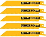DEWALT DW4845 6 10/14 TPI Straight Back Bi-Metal Reciprocating Saw Blade (5-Pack)